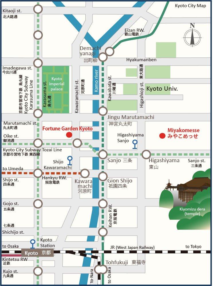 higashiyama tourist map with gion
